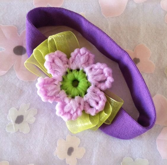 Headband, Crocheted Flower Soft Stretch Knit Headband, Purple band, Lavender Flower w/ Green Center Placed on Ribbon Bow, Gift For Girl #Etsy #EtsyRMP
