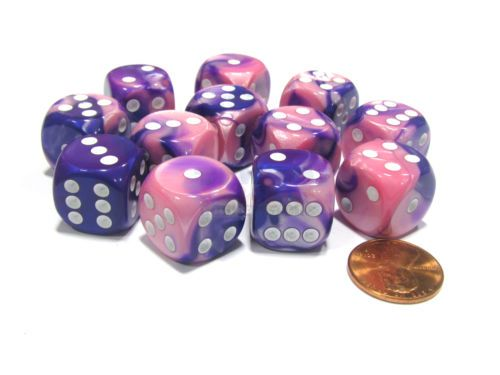 Gemini-16mm-D6-Chessex-Dice-Block-12-Dice-Pink-Purple-with-White-Pips