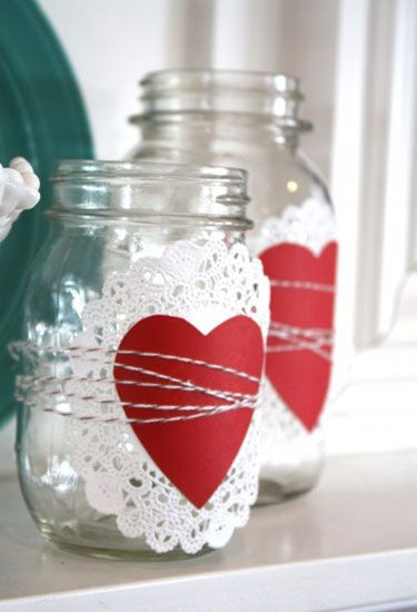 This might be the easiest craft ever: Use a paper doily, cutout heart, and twine to transform a few Mason jars into an elegant display for a mantel or entryway.: