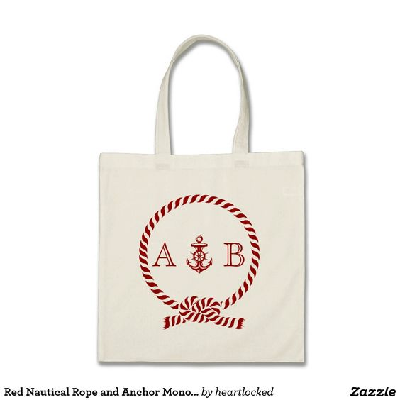 Red Nautical Rope and Anchor Monogram Budget Tote Bag