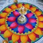 Rangoli is een woord uit het Sanskriet dat betekent 'creatieve uiting van kunst door het gebruik van kleur'. Het heeft een religieuze en culturele betekenis