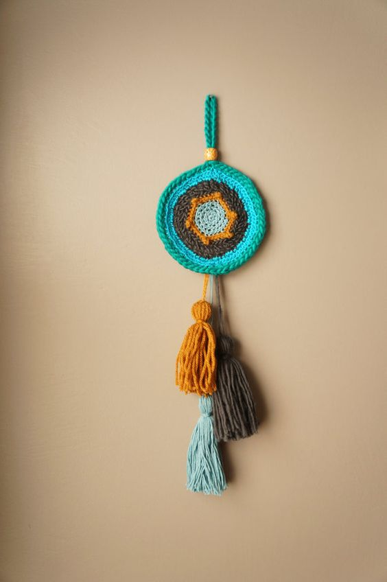 Woven Wall Hanging / Talisman Weaving / Boho Home Decor / Tassel Tapestry / Modern Textile Art / Bohemian Amulet / Mandala Wall Art / Blue
