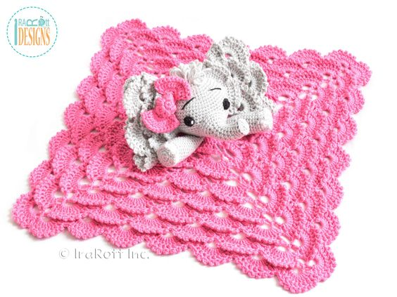 Crochet Pattern For Elephant Blanket : Security blanket, Crochet patterns and Elephants on Pinterest