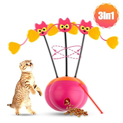 Shavow 3 In 1 Spinning Cat Toy Cat Food Treat Dispenser Rotating Ball Chaser Red Light Interactive Best Interactive Cat Toys Interactive Cat Toys Cat Toys