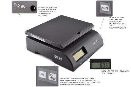 Weighmax 2822- 75 lbs capacity Gray Postal Shipping Scale, Battery and AC Adapter Included by Weighmax. $21.00. WeighMax 75 lbs postal scales were designed for weighing both letters and packages. With an accuracy of 0.2 ounces, it is fully capable of weighing first class letters for the post office. These digital postage scales feature mode switching, tare and hold buttons for your convenience. It also auto-hold the weight after a package has been placed on it, so you...