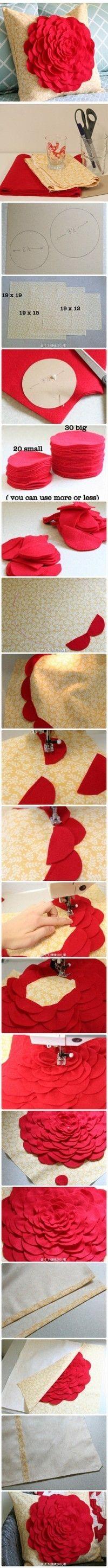 appliqe flower cushion