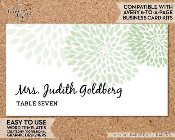Place Card Template - Mums - SAGE-  DIY Editable Word Template, Instant Download, Printable, AVERY compatible   $10.00 www.parkbenchpaperie.etsy.com