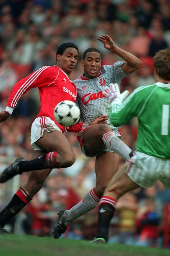 Paul Ince and John Barnes battle for the ball in front of the United goal during Manchester United v Liverpool at Old Trafford, March 18th 1990. #LFC