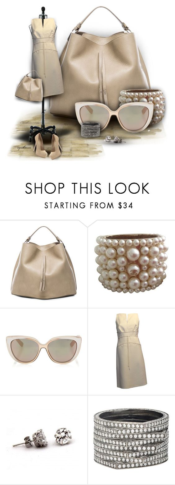 """""""Beautiful in Beige"""" by cynthia335 ❤ liked on Polyvore featuring Maison Margiela, Chanel, Jimmy Choo, Ralph Rucci, Repossi, Yves Saint Laurent, women's clothing, women's fashion, women and female"""