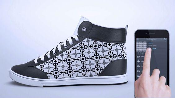 Sneakers von ShiftWear: Oberflächengestaltung per App einspielen.