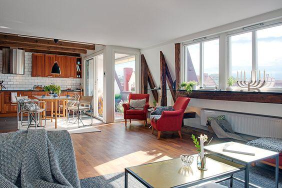 El estilo sueco se fusiona con lo moderno: Bonito apartamento con toques modernos y rústicos