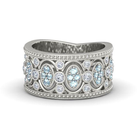 Vintage-inspired 14K White Gold Ring with Diamond & Aquamarine - Renaissance Band | Gemvara