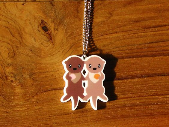 Otters Holding Hands Necklace by NaturalPopShop on Etsy