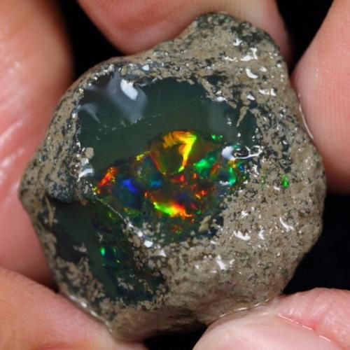 37cts-Natural-UNTREATED-BLACK-Ethiopian-Welo-Crystal-Opal-Specimen-Rough-S3013