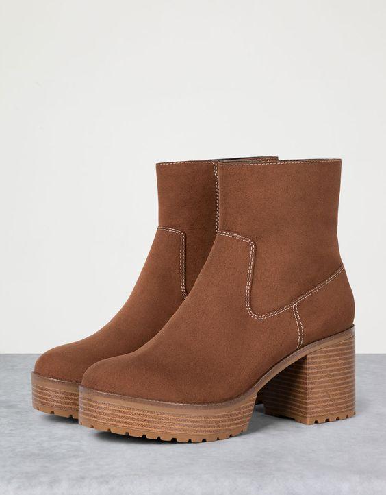Heeled platform fashion ankle boots - Boots & Ankle boots - Bershka Ukraine
