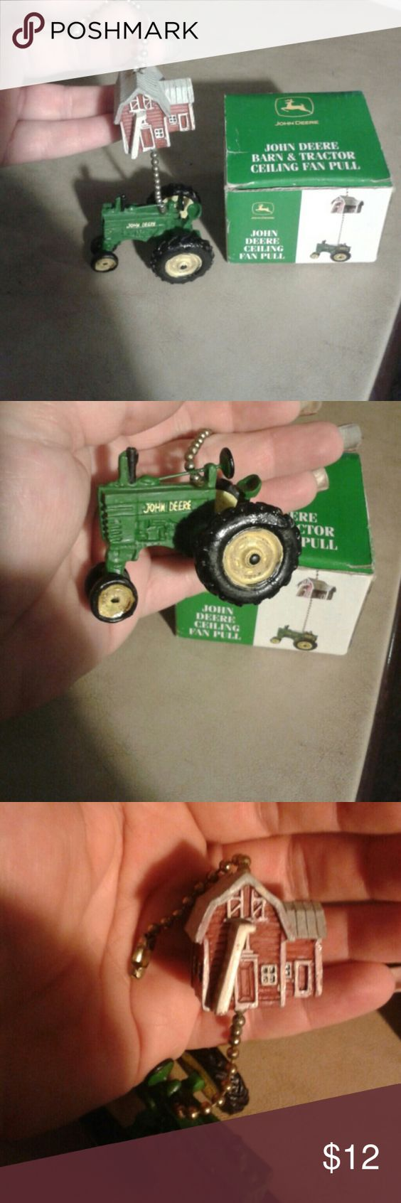 John Deere Barn&Tractor Ceiling Fan Pull NEW in the box, never used, ceiling fan pull, John Deere, tractor is green & yellow, barn is red & white, price is firm. John Deere Other