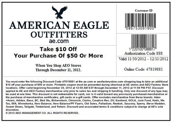 $10 Off $50 At American Eagle Outfitters, Or Online Via Checkout