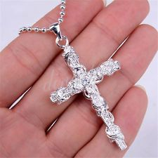 Unique Jewelry - 925 Sterling Silver Large Crystal Cross Pendant 18'' Necklace Chain set Z423