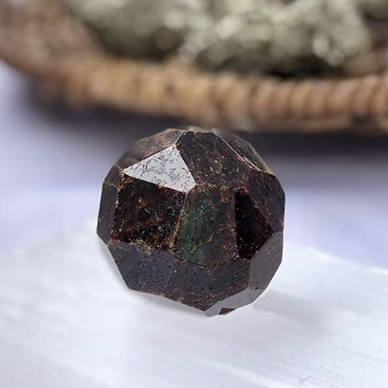 Sparkle Rock Pop Red Garnet Crystal - Hexagonal Circle Sphere Shape - Energy Infused, Natural Healing Gemstone - Stone of Grounding, Creativity, Protection, Courage