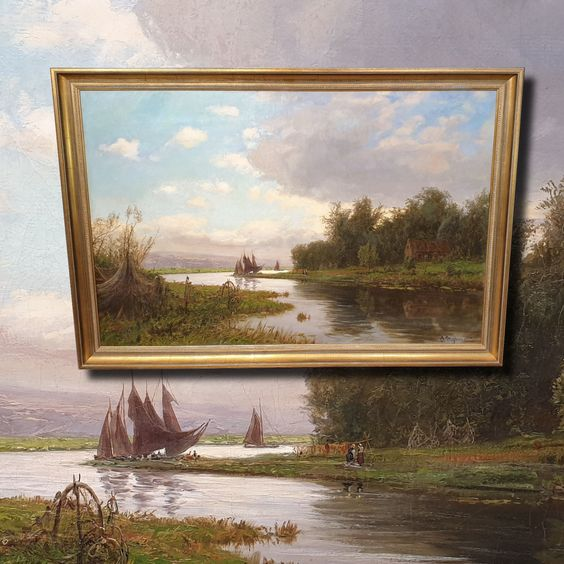 Am Niederrhein Antik Gemalde Olga Meissner 1895 Gemalde Olgemalde Galerierahmen