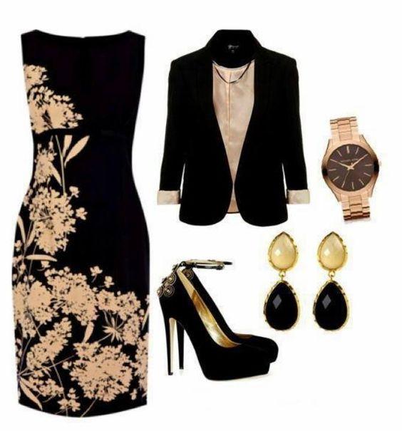 Classy black flowered dress