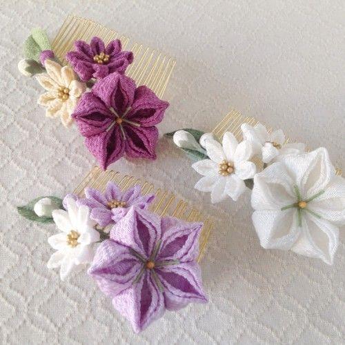 つまみ細工 桔梗と小菊のコーム 白 花のかんざし 細工 つまみ細工