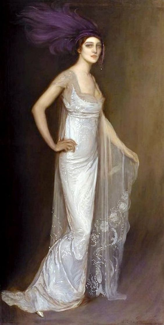 Ida Rubenstein by Antonio de La Gándara (French, 1861-1917), wearing a Worth gown.