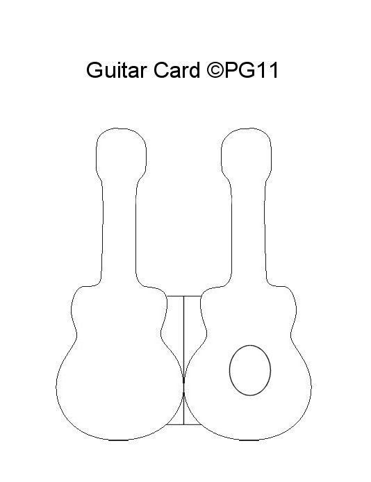 Guitar Card Template I Made Card Making Templates Shaped Cards Card Patterns