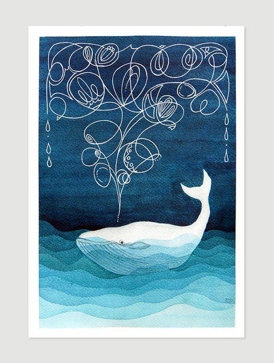 Decoración de pared náuticas de impresión giclee arte pintura acuarela vivero arte niños ilustración por VApinx la ballena