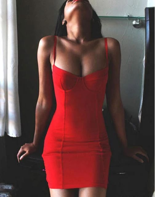 Summer Sexy Red Bandage Dress Women Bodycon Spaghetti Strap Party Dres – rricdress