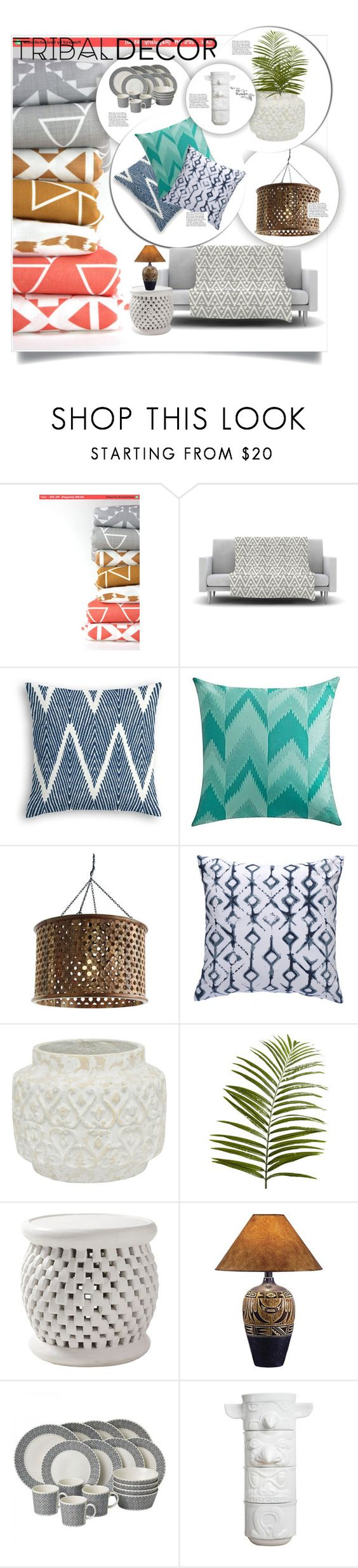 """Tribal Decor"" by nata0 ❤ liked on Polyvore featuring interior, interiors, interior design, home, home decor, interior decorating, Arteriors, Dot & Bo, Pier 1 Imports and Serena & Lily"