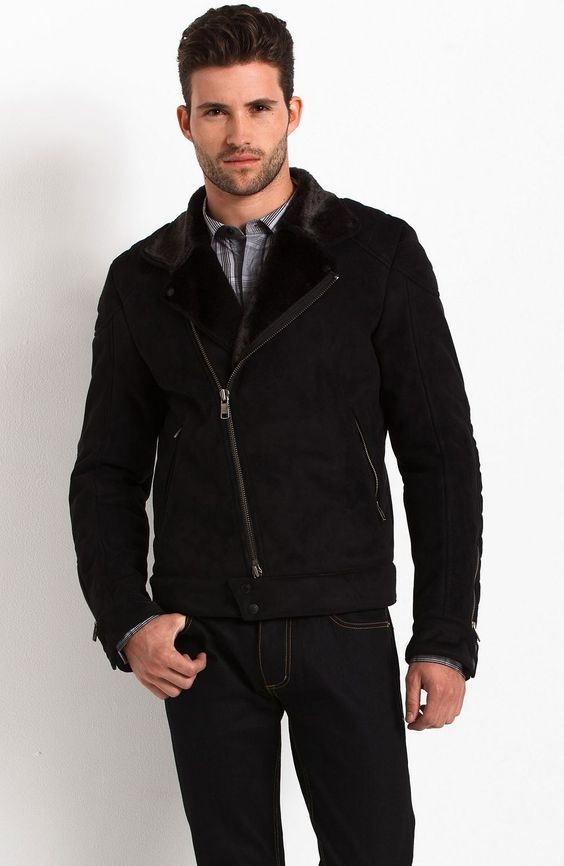 Faux Shearling Biker Jacket - Jackets & Outerwear - Mens - Armani Exchange