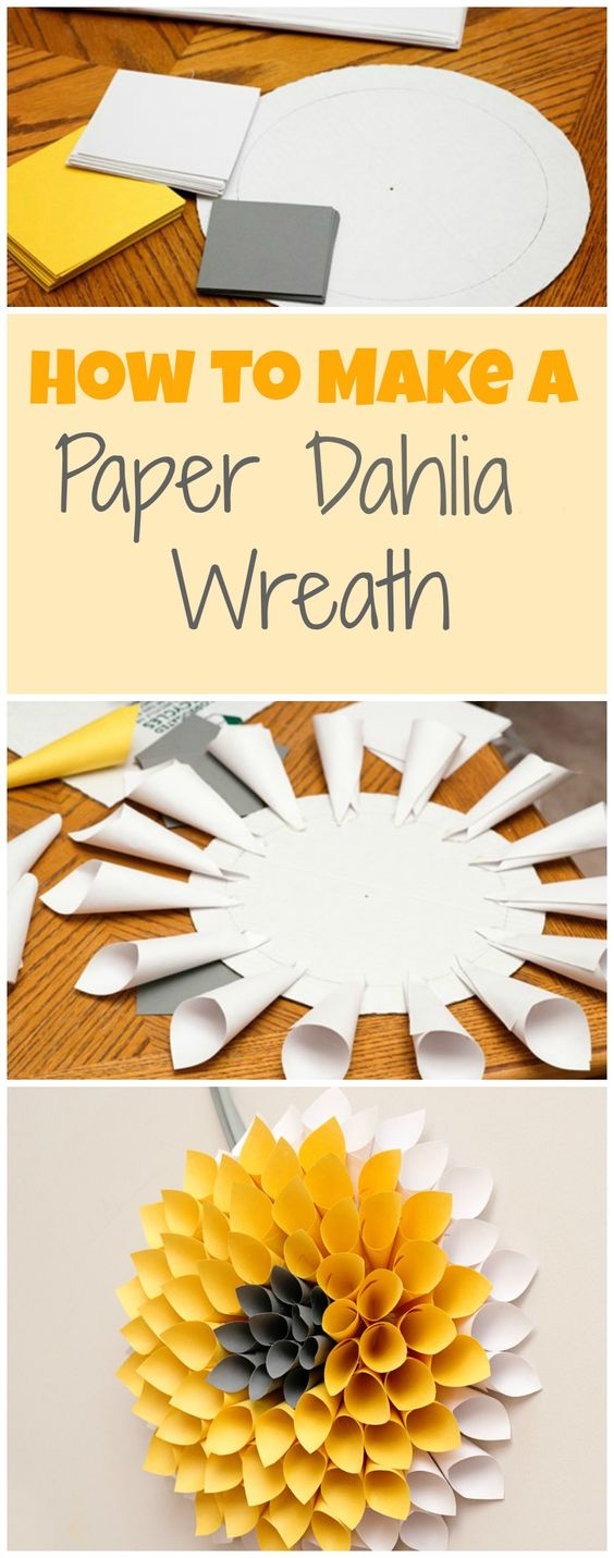 DIY paper wreath tutorial. This dahlia paper wreath is ready for spring and would be super cute over your mantel or on the front door.: