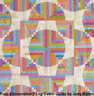 Detail of Playful Spirit, an original Log Cabin quilt variation designed by Judy Martin. Pattern is in Extraordinary Log Cabin Quilts, due to be published in November 2013. Quilting With Judy Martin -- Lessons, Blocks, and Quilting Products From The World-Reknowned Quilter