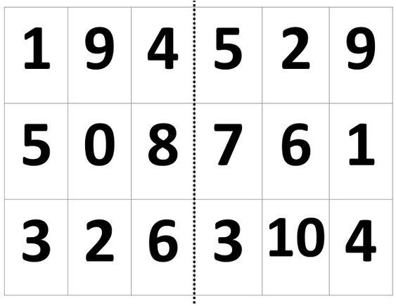 Loteria de numeros para preescolar - Imagui
