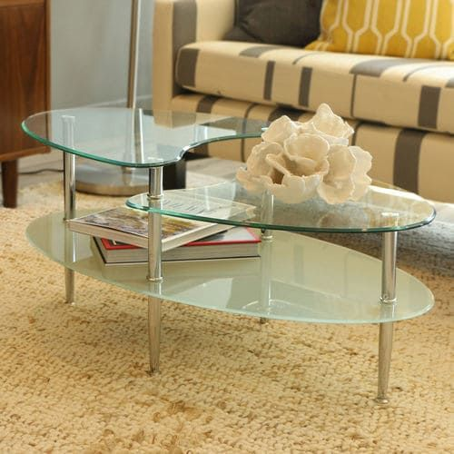 Oval Glass Multi Level Coffee Table With Chrome Legs Metal