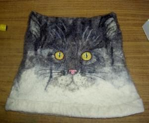 cat face on purse