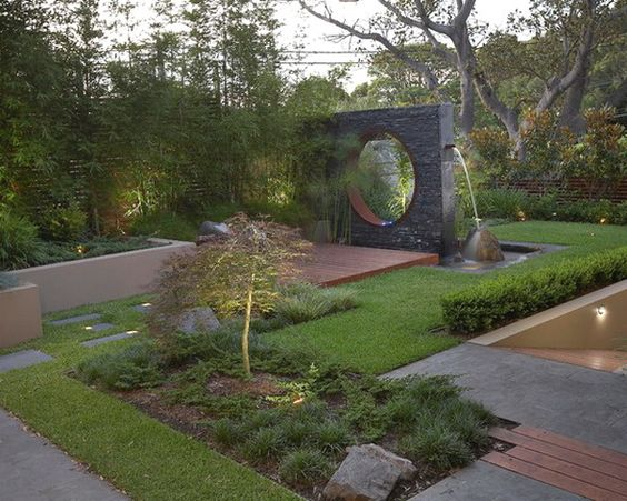Contemporary garden design with water feature