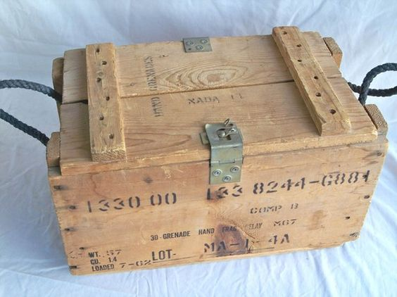 Vintage U S Military Wooden Hand Grenade Crate Box