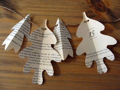 """Fall """"leaf"""" garland made from vintage book pages"""
