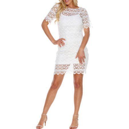 White Mark Women's Crochet Lace Overlay Mini Dress, Size: Small