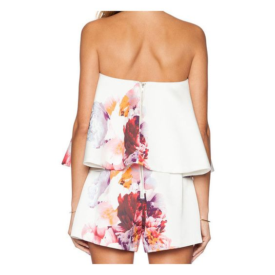 SheIn(sheinside) Strapless Florals Ruffle Jumpsuit (515 MXN) ❤ liked on Polyvore featuring jumpsuits, white off shoulder jumpsuit, sleeveless jumpsuit, off shoulder jumpsuit, white off the shoulder jumpsuit and strapless jumpsuit