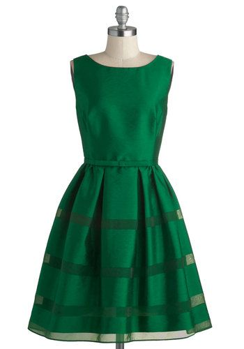 Dinner Party Darling Dress in Emerald - Green, Solid, Buttons, Formal, Prom, Wedding, Cocktail, Bridesmaid, Vintage Inspired, Fit & Flare, S...