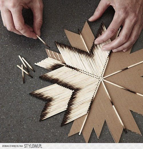 I want to try this but definitely not this shape. I'm thinking maybe just straight across and possibly with the matches alternating between being upside down and right side up...