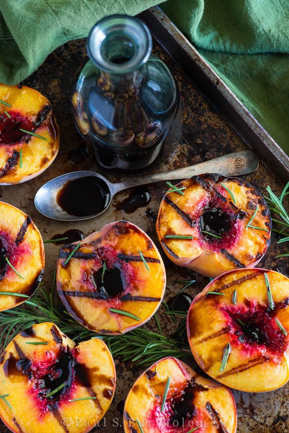 Grilled peaches with balsamic and rosemary. I have never grilled a peach in my life, but that is about to change with this summer side dish recipe.