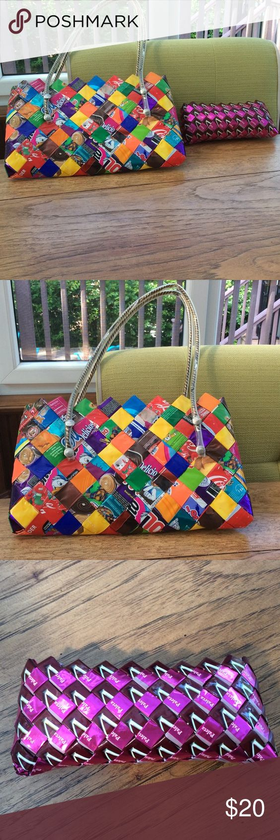 Handbag set Hand made in Mexico from candy wrappers. Never used Bags Hobos