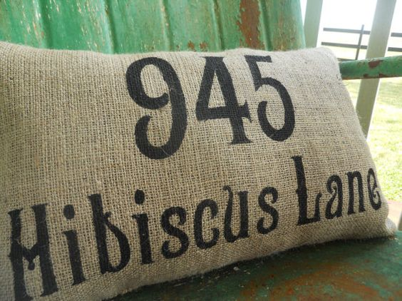 Throw Pillows With Numbers On Them : Personalized Address House Number Burlap Pillow Throw Accent Pillow Custom Colors Available ...