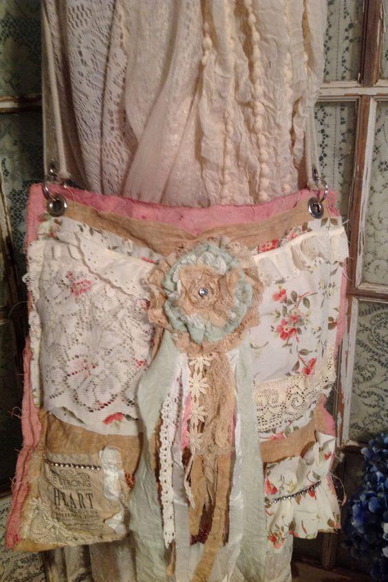 Boho Gypsy Shabby Large Shoulder Dump Bag by LimePoppyDesigns