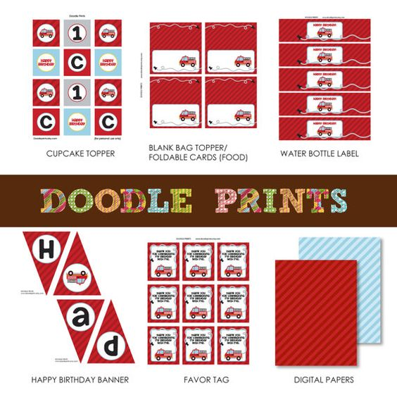 Printable FIRE TRUCK Party Birthday Package  by doodleprints, $15.00