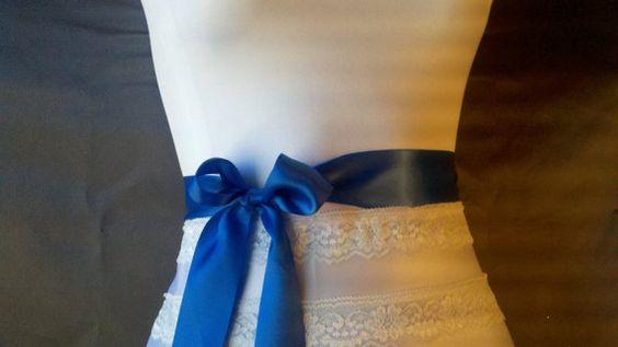 Royal blue satin ribbon wedding sash belt 1 by DoIHearWeddingBells, $12.00